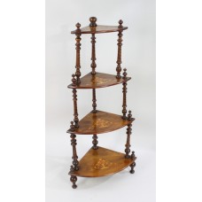 Late Victorian Inlaid Walnut Whatnot Shelves