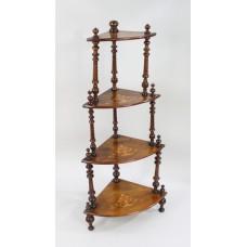 Late Victorian Inlaid Walnut Whatnot Shelves
