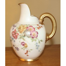 Late Victorian Small Royal Worcester Painted & Gilded Blush Jug