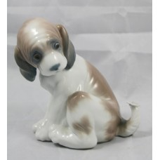 "Lladro ""Gentle Surprise"" Dog with Butterfly #6210"