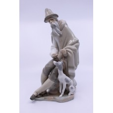 Lladro Old Man & Dog Figurine