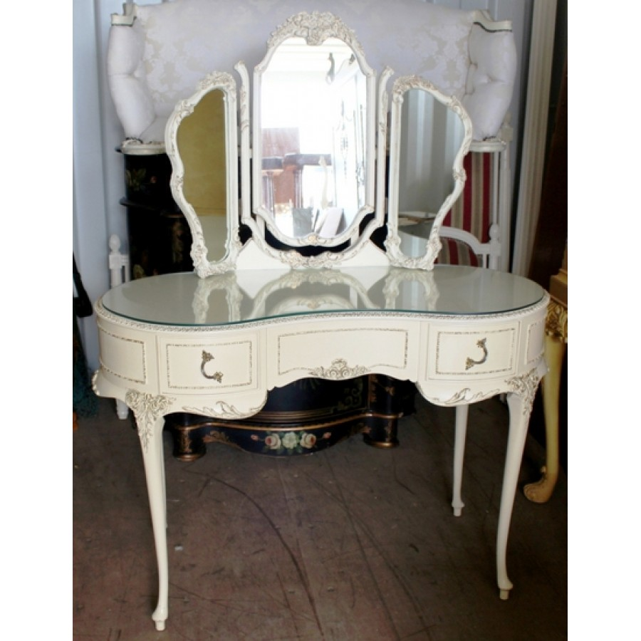 Louis Xv Style Kidney Shaped Vintage Olympus Painted Cream Dressing Table