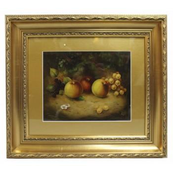 Fruit Still Life by M.E.Morris Oil on Board