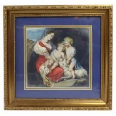 19th c. Italian Madonna & Child Watercolour Framed