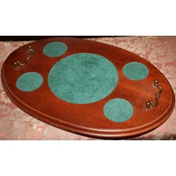 Mahogany Brass Handled Decanter Set Tray