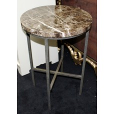 Metal Framed Lamp Table with Heavy Circular Marble Top