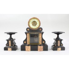 Mid 19th c. French Japy Freres Black Marble Garniture Clock Set