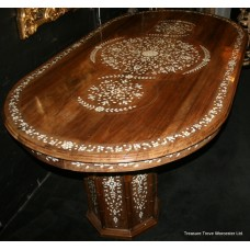 Inlaid Mother of Pearl Rosewood Twin Pedestal Centre Table