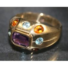 Multicoloured Stone 9ct. Gold Ring
