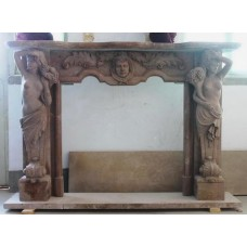 Heavy Carved Rouge Marble Fire Surround With Caryatid Supports