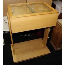 Oak Glazed Lockable Jewellery Cabinet Counter on Wheels