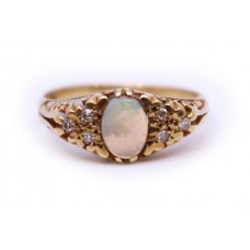 Opal & Diamond 9ct Gold Ring