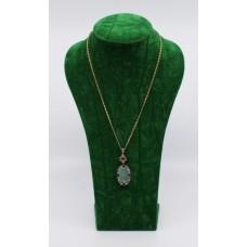 Opal Diamond & Ruby Pendant on 14ct Gold Chain