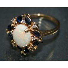 Opal, Sapphire & Diamond 14ct Gold Ring