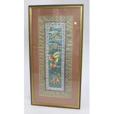 Oriental Silk Needlework Wall Hanging in Gilt Frame