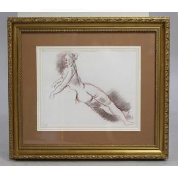 Original Red Chalk & Ink Nude Study Set in Gilt Frame