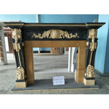 Ornate Black And Gold Antique Style Marble Fire Surround