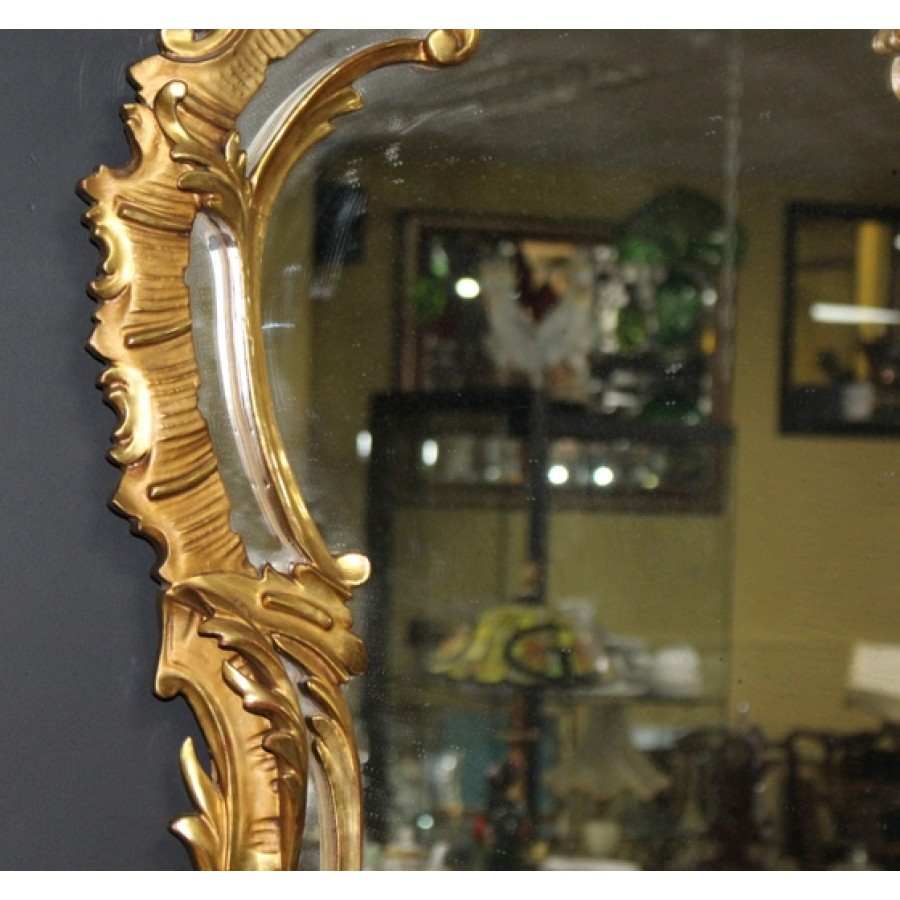Ornate Antique Carved Giltwood Mirror