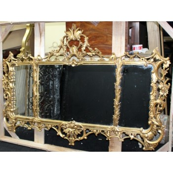 Ornate Gilt Antique Style Carved Wood Overmantle Mirror