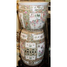 Ornate Hand Decorated Chinese 20th c. Ceramic Urns & Seat
