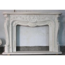 Ornate Heavily Carved Hunan Marble Fire Surrround