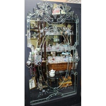Ornate Venetian Style Full Length Etched Glass Mirror