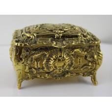 Ornate Heavy Brass Victorian Casket with Velvet Lined Interior