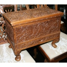 Ornately Carved Footed Sewing Chest