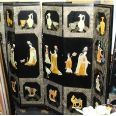 Ornately Decorated Oriental Chinoiserie Relief Lacquer Six Fold Screen
