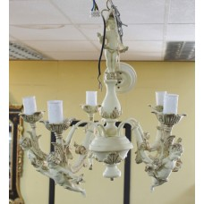 Vintage French Style Painted Cream Cherubic 5 Arm Chandelier