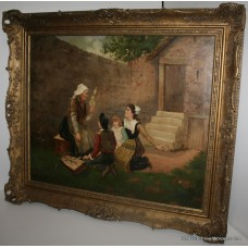 19th c. Genre Painting Oil on Canvas