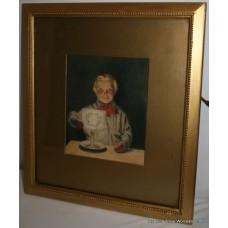 Daniel Sherrin (1869-1940) Candlelight Portrait Watercolour