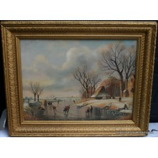 Dutch Winter Skating Scene Landscape Oil on Board
