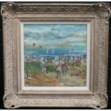 Walter John Beauvais (1942-98)  Beach Scene Oil Painting