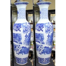 Pair of 4ft Porcelain Blue & White Oriental Vases