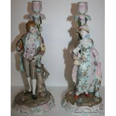 Pair of Antique Volkstedt Dresden Candlesticks c.1890