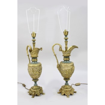 Pair of Antique Ormolu Ewer Form Table Lamps