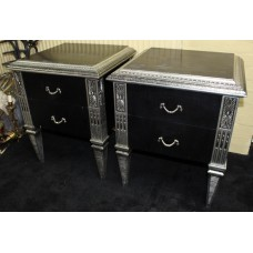 Pair of Black and Silver Leaf Heavy Two Drawer Chest of Drawers Bedsides