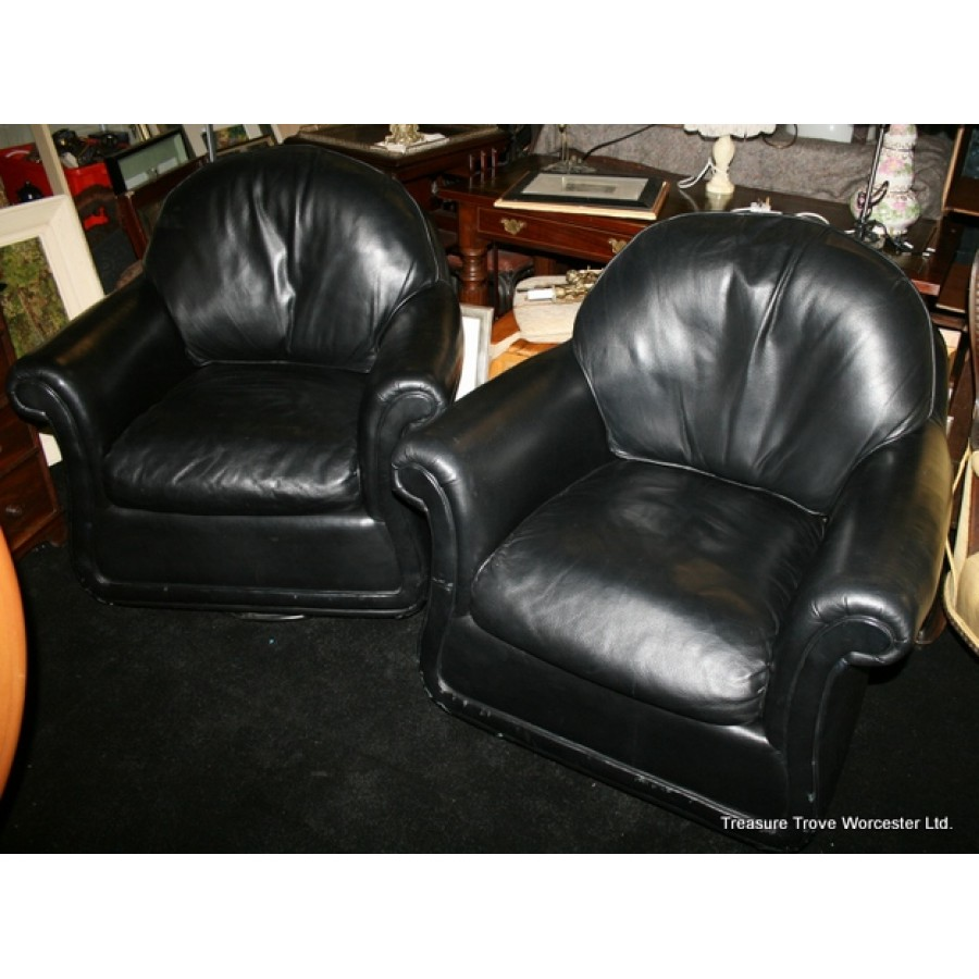 Marvelous Pair Of Top Quality Black Leather Swivel Armchairs Gmtry Best Dining Table And Chair Ideas Images Gmtryco