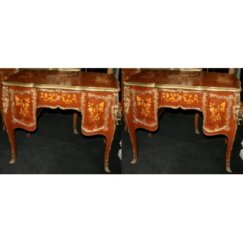 Pair of Louis XV Style Kingwood & Marquetry Brass Bound Desks