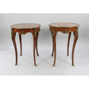 Pair of Brass Bound Kingwood Marquetry Lamp Tables