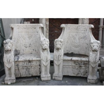 Pair of Carved White Travertine Stone Throne Chairs