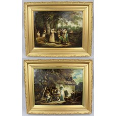 Pair of Early 19th c. Country Genre Scenes Oil on Canvas
