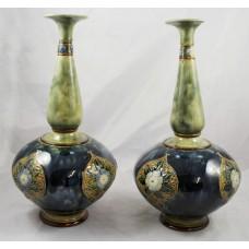 Pair of Early 20th c. Royal Doulton Glazed Stoneware Vases #7017
