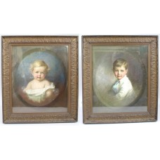 Pair of Early 20th c. Emily Eyres (British) Pastel Portraits of Children