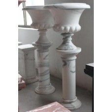 Pair of Fine 4ft Tall White Marble Urns on Column Pedestals