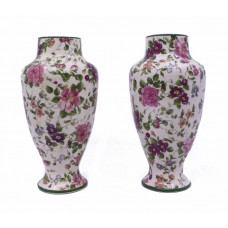Pair of Floral Staffordshire Vases c.1900