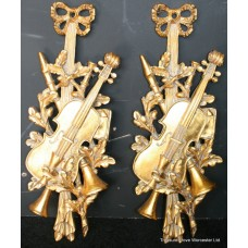 Pair of Ornate Gilt Musical Wall Dressings