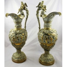 Pair of Antique Ormolu Brass Greco-Roman Style Ewers