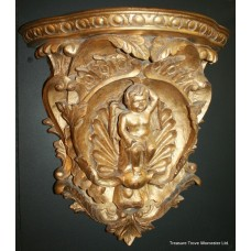 Pair of Gilded Hand Carved Cherubic Wall Brackets